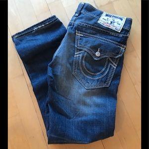 Men's True Religion Straight w Flaps Jeans Size 33